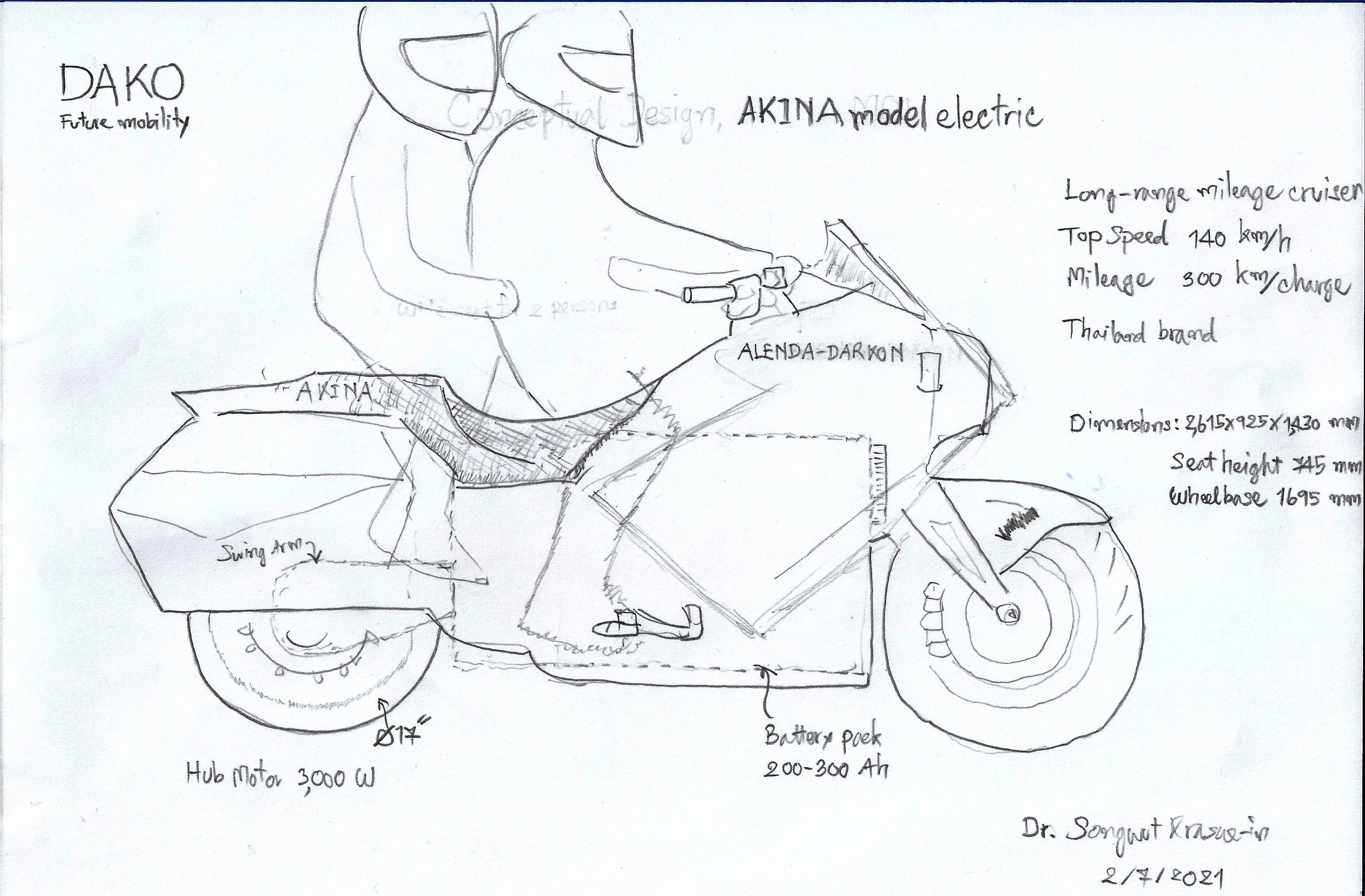 AKINA Concept บิ๊กไบค์ไฟฟ้า 4,000 วัตต์ 140 กม./ชม. 300 กม./ชาร์จ ต้นแบบเสร็จกลางปี 65