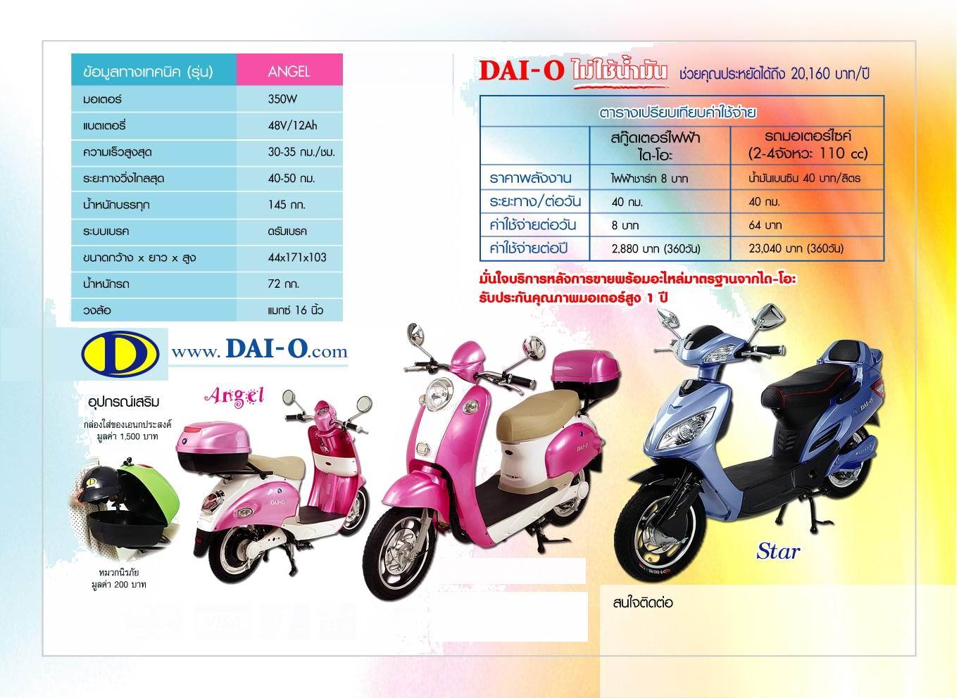 DAI-O มอเตอร์ไซค์ไฟฟ้า 350 วัตต์ วิ่งเร็ว 35 กม./ชม.