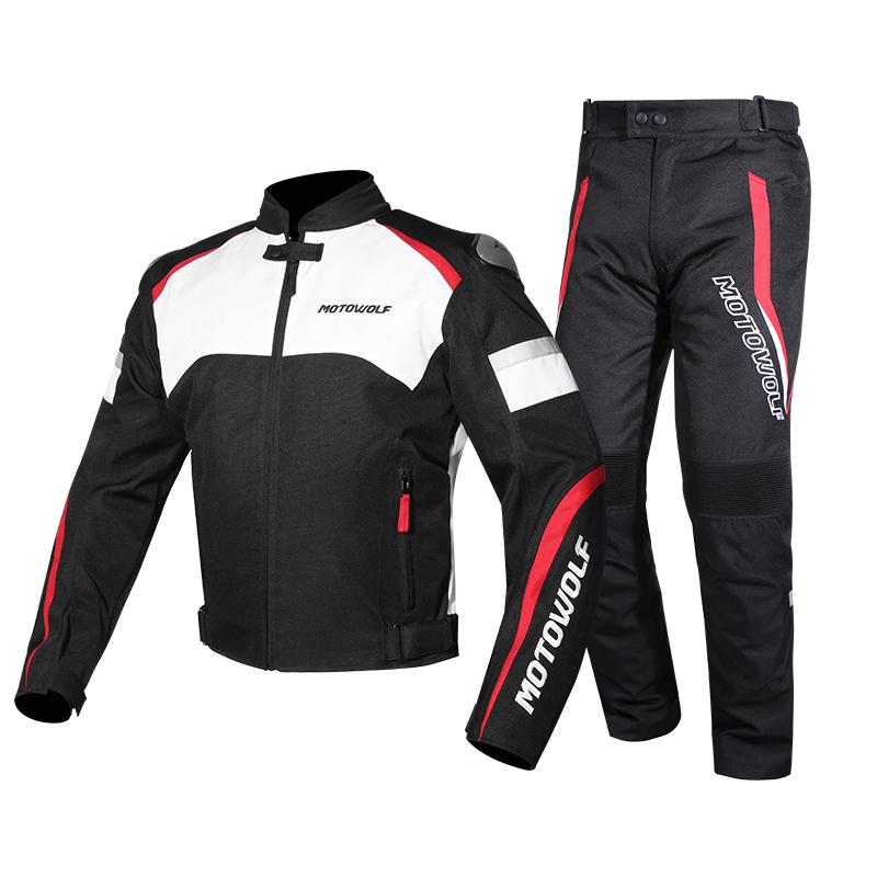 MOTOWOLF เสื้อแจ็คเก็ต-กางเกง ไซค์ M มอเตอร์ไซค์ พร้อมตัวป้องกันและซับในกันลม