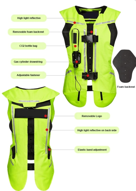 KASOZ เสื้อถุงลมนิรภัย มอเตอร์ไซค์ ลดแรงกระแทก แบบเข็มขัด ไซค์ L