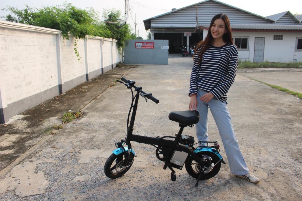 HANYONG จักรยานไฟฟ้าพับได้ 350 วัตต์ ล้อ 14 นิ้ว แบตลิเที่ยมถอดได้ 25 กม./ชม. 40 กม./ชาร์จ